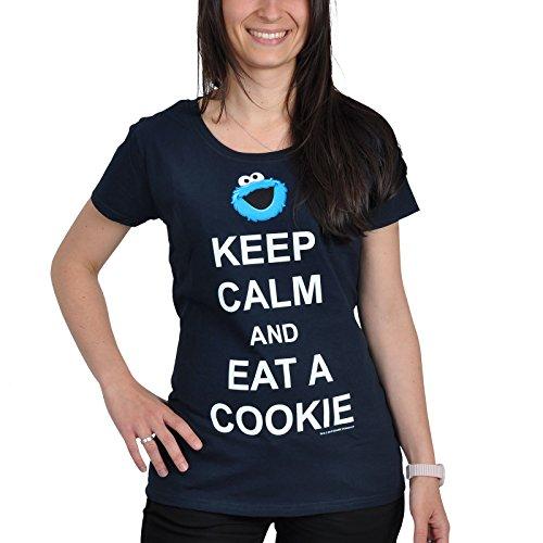 Sesame Street Keep Calm And Eat A Cookie Maglia donna blu XL