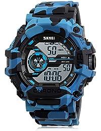 Bozlun - Reloj para niños/adolescentes deportivo (digital, para deporte, con cronómetro, impermeable, militar, led azul) color camuflaje