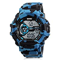 Bozlun Blue Camouflage Watch EL Backlight Alarm Sports Wristwatch with 50M Waterproof for Men Boy