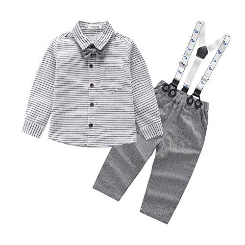 Bestanx Baby Jungen Baumwoll Langarm Overall Kleidung Gentleman Anzug, Grau, S(0-6M)