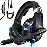 kdorrku Gaming Headset für PS4 Xbox One PC, ONIKUMA mit Mikrofon Stereo Surround Gaming-Kopfhörer Professional Deep Bass Gaming Headphone Over-Ear-Kopfhörer LED Licht für Laptop Handy Tablet,Blau