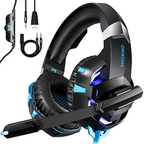 Gaming Headset for PS4 Xbox ONE PC Kdorrdu Professional Deep Bass Headphones, Stereo Gaming Headphone Over-Ear Headphones with Mic LED Light for Mobile Phone Tablet, Blue