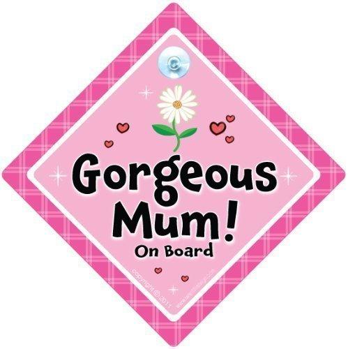 Magnifique Mum on Board, fleur rose, Sac à Langer Motif Yummy Mummy on Board, Bébéà Bord, Panneau de voiture, pare-chocs Sticker style, Baby on Board, Mum To Be