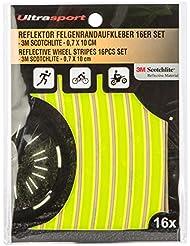 Ultrasport Reflektor Felgenrandaufkleber 16er Set, Neon Gelb/Weiß/Orange, One Size, 330900000107