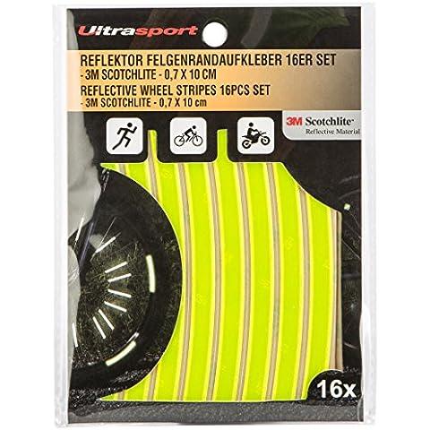 Ultrasport - Pegatinas reflectantes para llantas, visibilidad y seguridad para pegar (paquete de 16), amarillo
