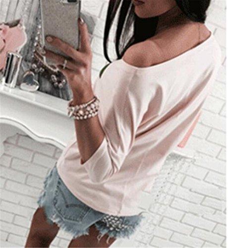 AILIENT Femme T-shirt Manches Longues Col Rond Avec Balle en Peluche Chic Pullover Décontractée Tops Casual Blouse pink