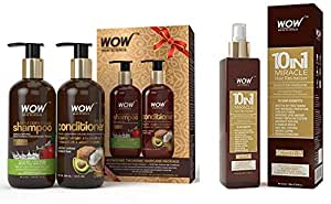 WOW Apple Cider Vinegar Shampoo - WOWsome Twosome No Parabens & Sulphates Hair Care Package – 600mL And WOW 10 in 1 Miracle No Parabens & Mineral Oil Hair Revitalizer Mist Spray, 200mL