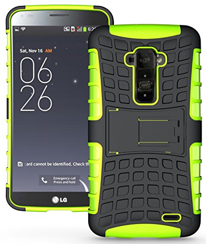 Heartly Flip Kick Stand Hard Dual Armor Hybrid Bumper Back Case Cover For LG G Flex D958 - Green  available at amazon for Rs.380