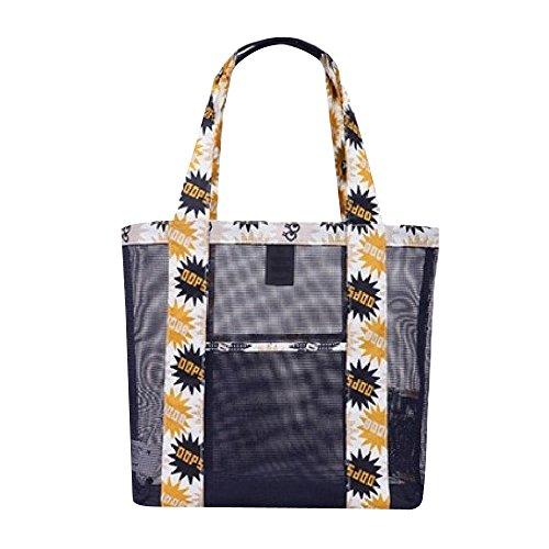 Eizur Mesh Borsa da spiaggia Larga Tote Bag con tasca Impermeabile Tenere Sabbia Multifunzionale Portatile viaggio Bag Shopping Borsa Borsetta per Donne Bambini Dimensione 350*350mm--Nero
