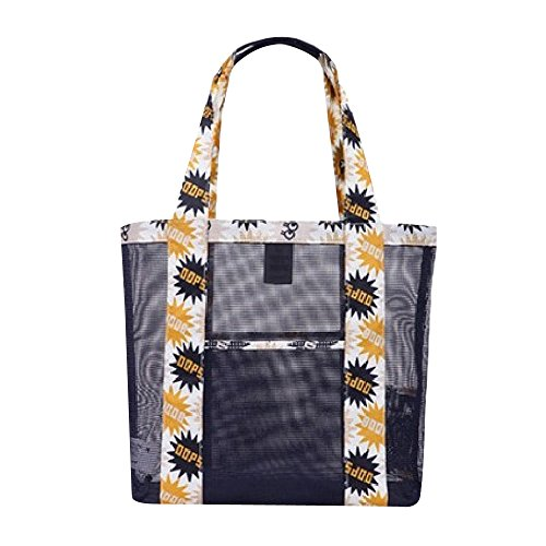 Eizur Mesh Borsa da spiaggia Larga Tote Bag con tasca