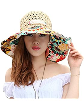 TININNA pieghevole Bohemia Floreale floscio Large Wide Brim Cappello di paglia spiaggia Cappello da sole Visiera...