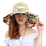 TININNA Mode Bohemia Floral Chapeau de Paille Bord Large Plage Capeline Anti-Uv Casquette De Soleil Pare-Soleil Hat pour Femmes Filles Beige