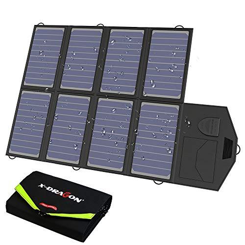 X-DRAGON Solar Ladegerät 40W 18V SunPower Faltbar Solar Panel Outdoor Ladegerät (5V USB + 18V DC) für Laptop, iPhone, iPad, Samsung, Huawei, Smartphones, 12V Auto Batterie, RV, Camping, Outdoor