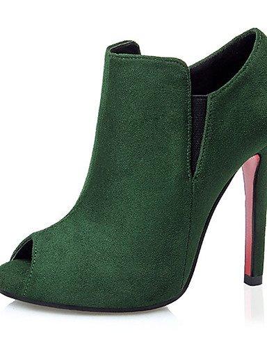 WSS 2016 Chaussures Femme-Décontracté-Noir / Vert / Rose / Rouge / Gris / Kaki-Gros Talon-Talons-Talons-Laine synthétique gray-us5 / eu35 / uk3 / cn34