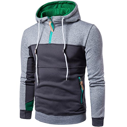 YunYoud Mode Herren Kapuzenpullover Männer Patchwork Lange Ärmel Pullover Beiläufig Mit Kapuze Mantel Reißverschluss Jacke Herbst Winter Sport Outwear Strickjacke (XXXL, Grau) (Band Double Breasted)