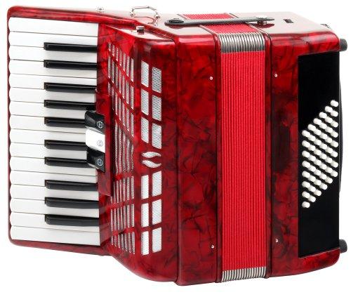 Classic Cantabile Secondo III 48-Bass Akkordeon (48 Basstasten, 26 Diskanttasten, 2-chörig, 2 Register, inkl. Koffer und Tragegurte) rot