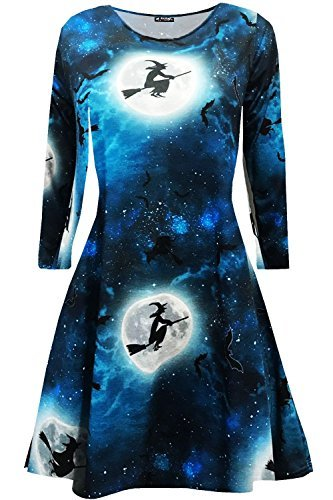Oops Outlet Damen Halloween ghost pumpkin Damen langärmlig Party Kostüm Swing Minikleid - Hexe Mond Fledermaus blau, Plus Size (UK (Hexe Kostüm Plus Size)