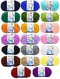 JZK 20 Multicolore 50g Super Morbido Filato di Lana di Cotone, matassine gomitoli Cotone per Uncinetto e Maglia per Indumenti Bambini amigurumi Cappello Sciarpa