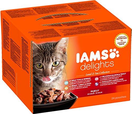 Iams Delights Land and Sea Collection Nassfutter (für erwachsene Katzen mit verschiedenen Fleisch- und Fisch-Sorten in Gelee, Multibox) 24 Frischebeutel (24 x 85 g) (Katze Fleisch)