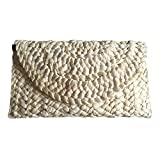 Frauen Stroh Kupplung Handtasche Umschlag Tasche Hasp Strandtasche Gewebe aus Beutel Geldbörse Brieftasche