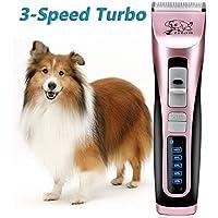 Hundeschermaschine, Rision 3-Geschwindigkeit Geringes Rauschen, Geringe Vibrationen Wiederaufladbare Tierhaarschneider Trimmer Rasierer Tierhaarschneidemaschine Haustiere für Hunde/Katzen/Pferde