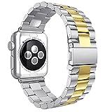 Armbänder für iWatch Uhrenarmband 42mm, AISPORTS Apple Watch Armband 42mm Edelstahl Smart Watch Ersatzband Armband Schnalle Schließe Wristband für 42mm iWatch Serie 3/2/1,Sport,Edition - Silber&Gold