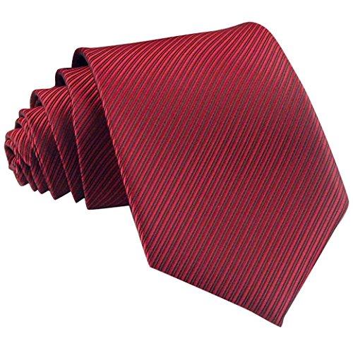 Panegy Herren Krawatte Casual Streifen Seide gewebt Krawatten für Hochzeit Slim Tie Business Schlips - Rot
