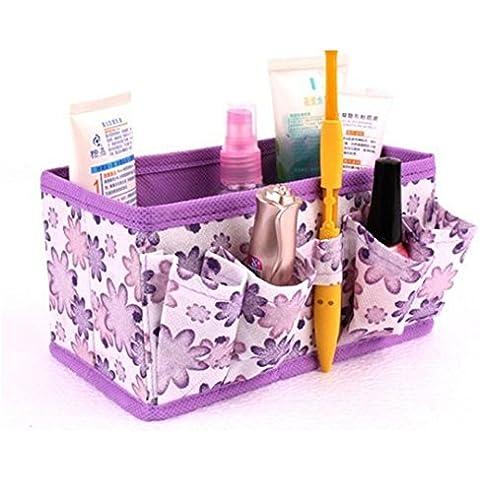 Fortan Makeup Cosmetic Storage Box Bag brillante Organizzatore pieghevole stazionario Container Viola