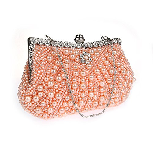 KAXIDY Borsa Pochette Borsa Sacchetto Cerimonia Perline Perle Donne Eleganti Pochette Sera Spalla Rosa