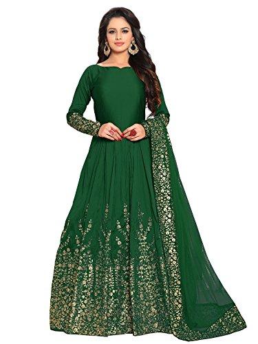 Ethnic Yard Designer Embroidered Tafeta Silk Bridal Anarkali Salwar Suit