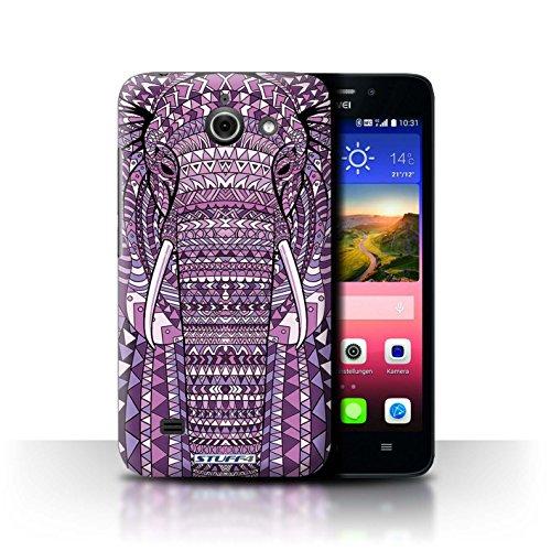 Stuff4® Hülle/Hülle für Huawei Ascend Y550 LTE/Elefant-Lila Muster/Aztec Tier Muster Kollektion