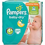 Pampers Baby Dry taille 4 + Pack Pack de 4(4x 27pièces Basse, 9–18kg)