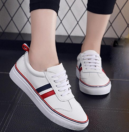 Ms. primavera scarpe ascensore sportive e pattini di svago traspiranti studente scarpe scarpe da donna tacco piatto White