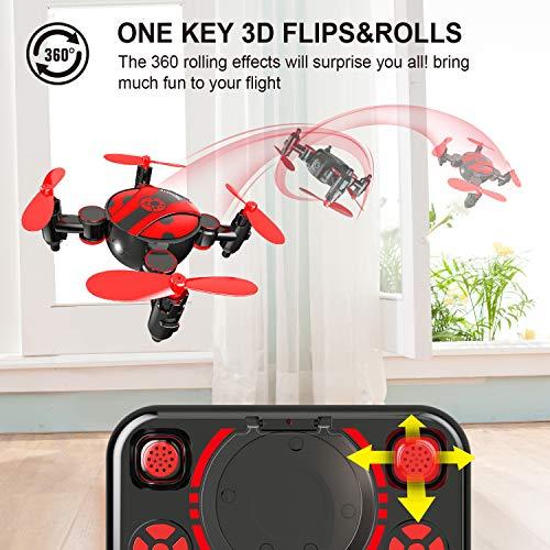 3D Flips e funzione di rotazione ad alta velocit/à Fun Gift Pieghevole mini drone per bambini e principianti tasca RC Nano quadricottero con altitudine Hold modalit/à headless