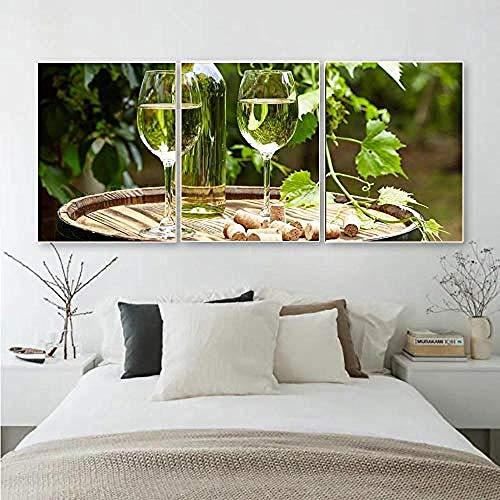 Laeacco3 Panel Hd Lienzo Caligrafía Pintura Champagne Wall Artwork Pastoral Posters Y...