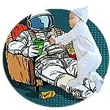 TIZORAX Tappeto Shaggy Area Cartoon Seduta Astronauta Tappeto Rotondo Tappetino per Soggiorno Camere da Letto Bambini Nursery Home Decor