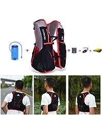 AONIJIE 5L bolsas de mochila de nailon impermeable, para maratón, ciclismo, running chaleco, bolsa de deporte + bolsa de agua de hidratación de 1,5 L, S/M