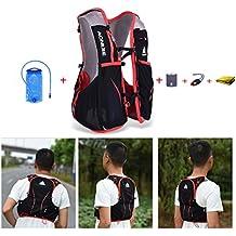 AONIJIE 5L bolsas de mochila de nailon impermeable Running Marathon Ciclismo Running chaleco eléctrica bolsa de deporte + 1.5L Hidratación bolsa de agua, L/XL