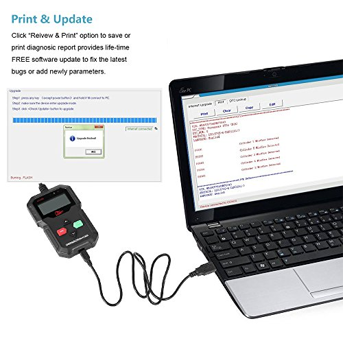 Mbuynow OBD2 Diagnosegerät OBD2 Scanner, Fehlerauslesegerät KFZ mit OBD2 USB zum Lesen und Löschen des Motorfehlercodes 16 polig OBD Schnittstelle für Benzin Auto