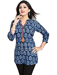 Color Petal Printed Rayon Cotton Blue Colour Short Kurti / Tunic / Top For Women And Girls