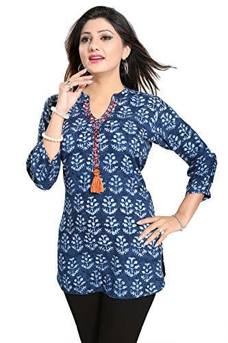Color Petal Printed Rayon Cotton Blue colour Short Kurti/Tunic/Top for women and...