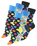 Vincent Creation 6 Paar knallig bunt gepunktete Damen Socken DOT