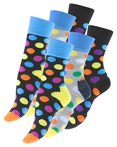 Vincent Creation 6 Paar knallig bunt gepunktete Damen Socken DOT