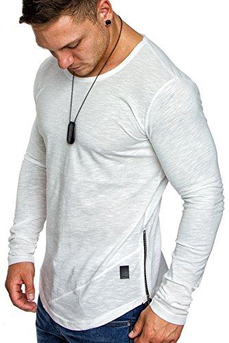 Amaci&Sons Oversize Herren Vintage Longsleeve Zipper Crew Neck Rundhals Sweatshirt Basic Shirt 6058 Weiß M