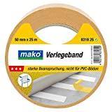 Mako Doppelseitiges Klebeband Gewebe Verlegeband PROFI 50 mm x 10 m