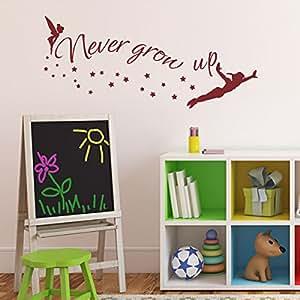 walt disney zitat never grow up tinkerbell peter pan spr che vinyl wandtattoo f r den. Black Bedroom Furniture Sets. Home Design Ideas