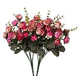 Künstliche Seiden-Blumen mit Stielen und Blättern von Houda, Rosen, Hochzeits-Dekoration, Sträuße, 2Stück Rose Coffee