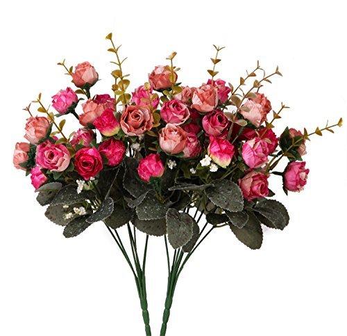Houda - Ramo rosas artificiales tallos capullos seda