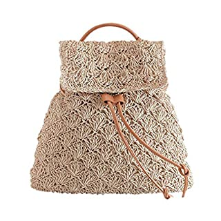 Milkate Retro Women Hollow Out Straw Weave BackpackShoulder Bag Travel Mochila Feminina Khaki