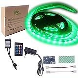 BIHRTC IP22 Nicht-wasserfest Grün 5630 SMD 5M/16.4ft 300 LED Streifen Stripe Licht Lichtband Lichtstreifen Set Kit mit Fernbedienung 24 Tasten und 12V 3A CE-Zertifizierung Netzteil (Grün)